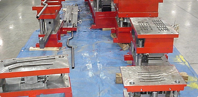 A setup for multiple stamping dies.