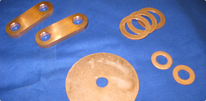 Machined brass and copper parts.